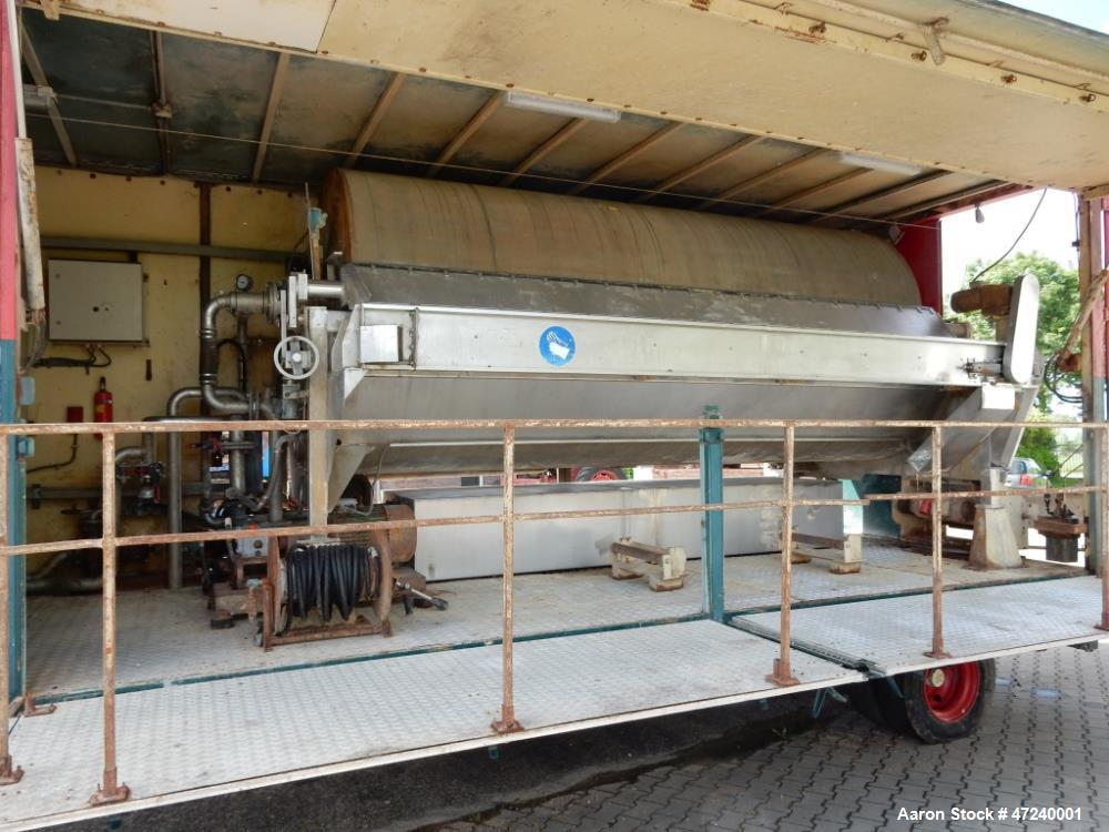 Used- Nivoba Engineering Type FS Mobile Trailer Mounted Rotary Vacuum Filter, Model FS 160-20, Stainless Steel. Drum approxi...