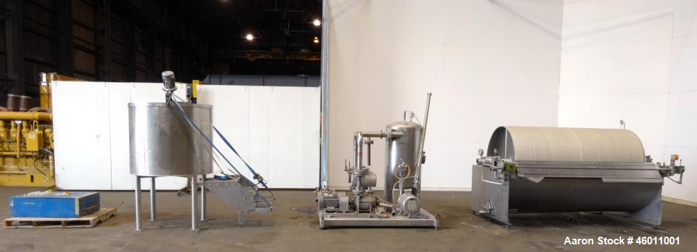 Used- Seitz Enzinger Noll Duobloc (Drehfilter) Rotary Drum Vacuum Filter, Approximate 86 Square Feet (8m^2), 304 Stainless S...