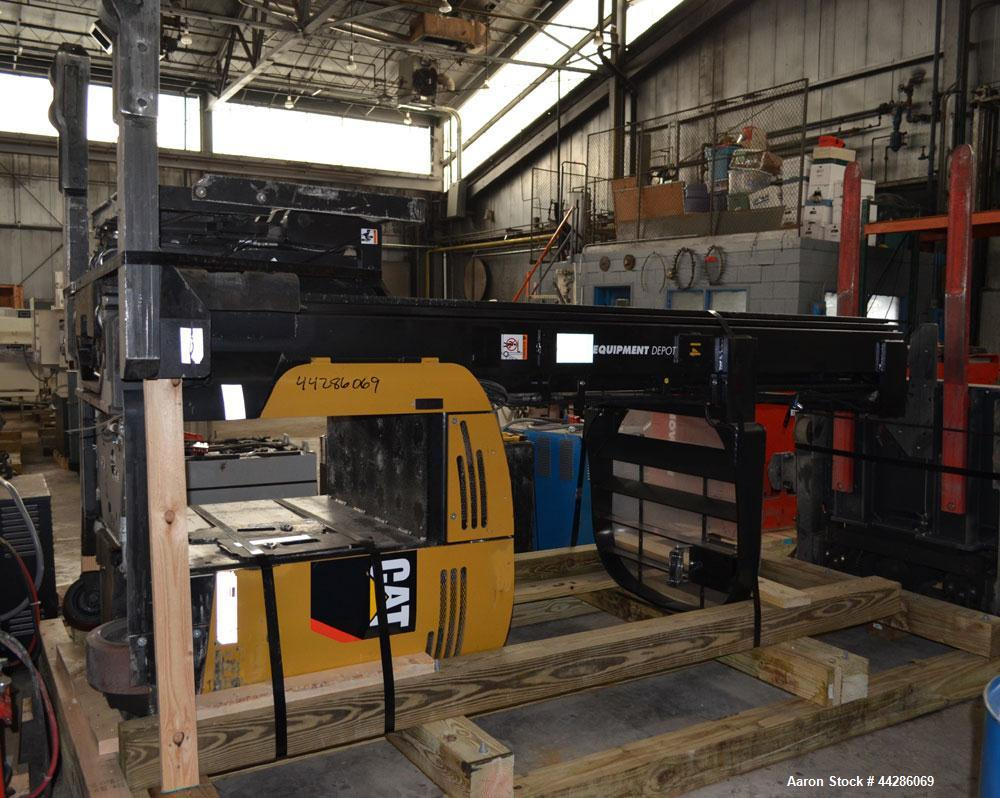 Used- CAT Model ND3000P-36V, 3,000 Pound Capacity Electric Stand Up Riding Forklift. 3,000 Pound Capacity Electric Stand Up ...