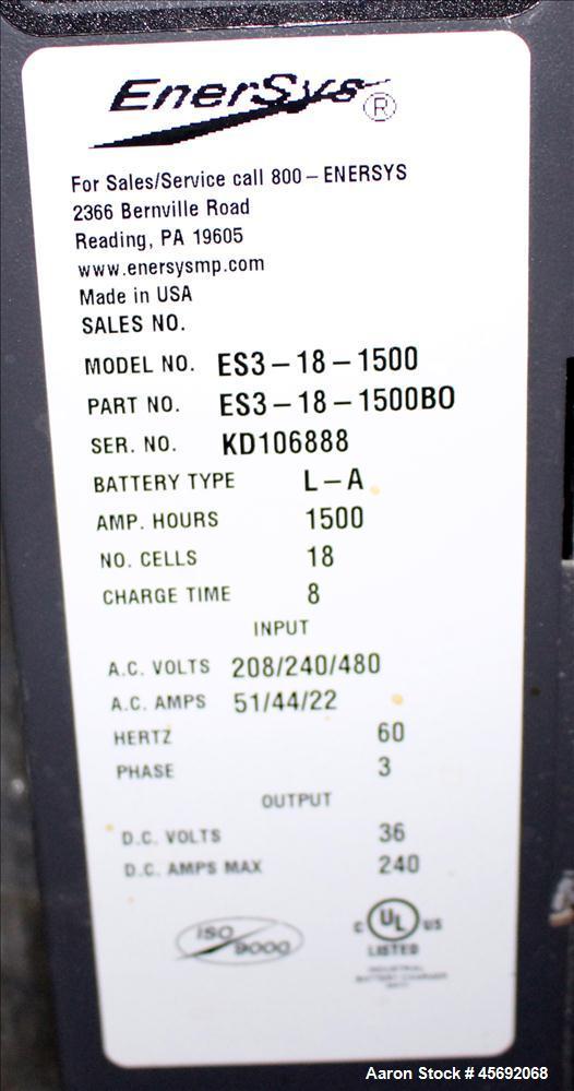Used- Enersys Enforcer Fork lift Battery Charger, Model ES3-18-1500. 36 DC volt output. Battery type L-A. Number of cells 18...
