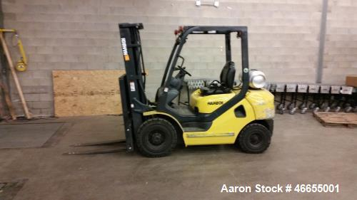 Used- Hamech ForK Lift, Model G25T-16LP. Gas, 4800 lbs capacity, front tire 7.00-12 Solid. Rear tire 6.00-9. Attachment LE50...