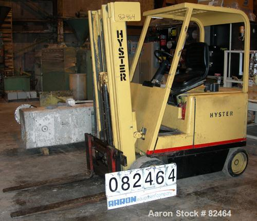 USED: Hyster electric forklift, 5000 pound capacity, model E50A. 48 volt, solid tire, triple mast, 5 degree back tilt, side ...