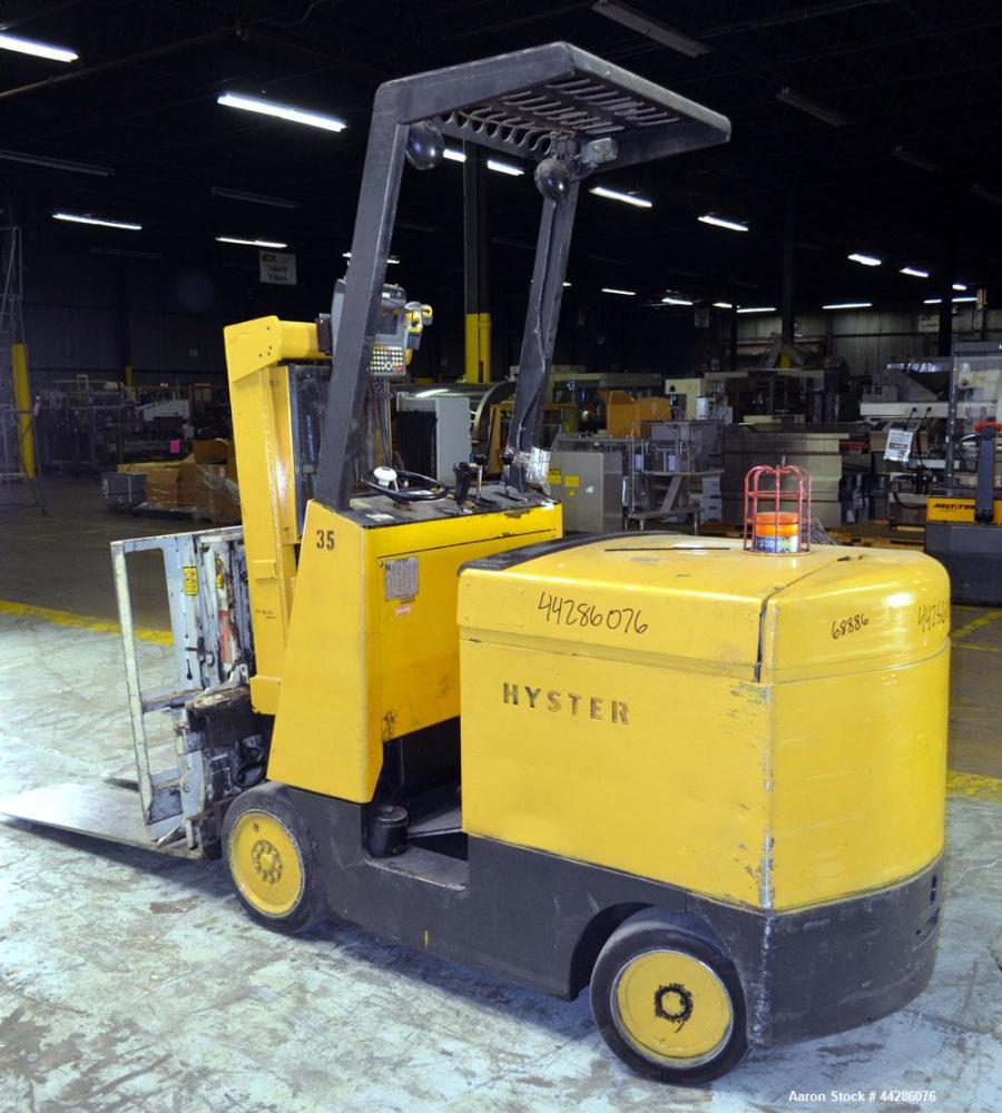 Used- Hyster Model E50AC, 4,200 Pound Capacity Electric Stand-Up Style Forklift. 4,200 Pound Capacity Electric Stand-Up Styl...