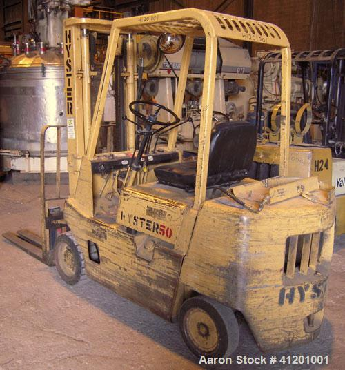 """Used- Hyster Lift Truck, Model S50XL, 5000 lb capacity. Triple mast, (2) 42"""" long forks, 8 degree backtilt, with sideshift c..."""