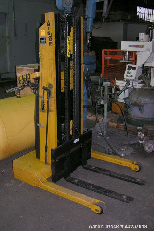 "Used- Big Joe Lift, 1500 pound capacity, Model 1518-T8. 18"" load center, 30"" fork length, 8' rise."