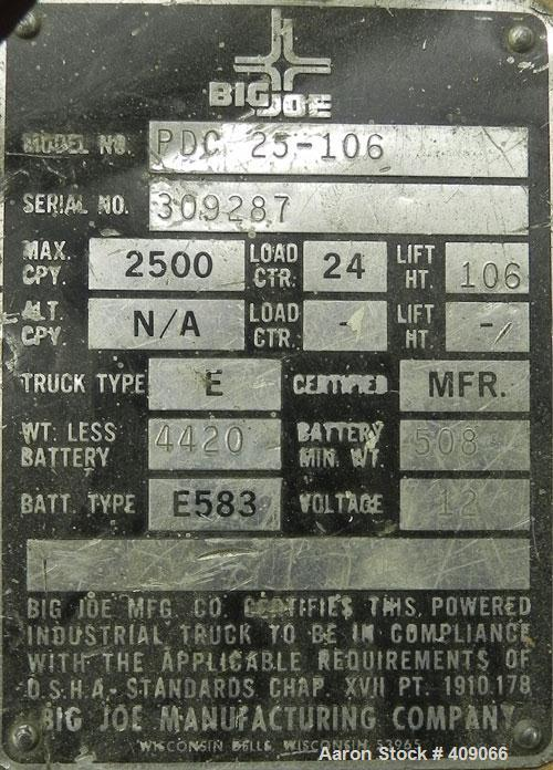 "Used-Used- Big Joe Counterbalanced Walkie Lift Truck, Model PDC-25-106. 2500 Pond capacity at 24"" load center, 106"" lift hei..."