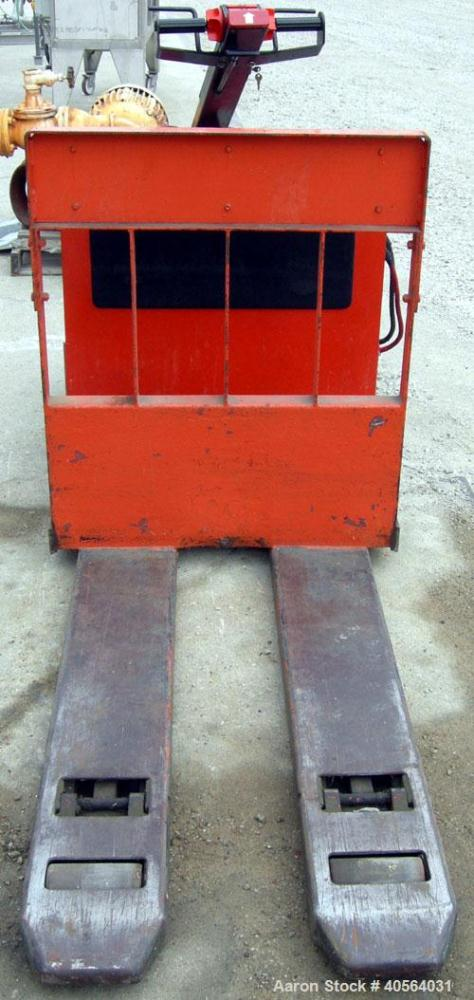 """Used- Raymond Low Lift Electric Pallet Truck, Model 110FRC40L, 4000 pound capacity, rider/walkie style. 24 volt. 48"""" long fo..."""
