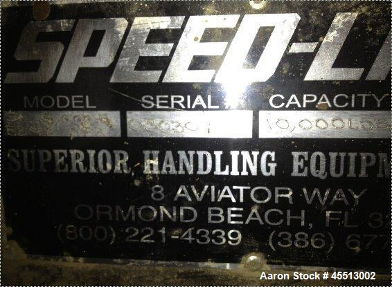 "Used-Speed Lift, Model SL-10000-C. Capacity 10,000 pounds. 15 hp motor; 230 V-3ph. Usable platform size 68"" x 120"". Lowered ..."