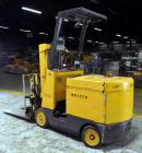 Used- Hyster Model E50AC, 4,200 Pound Capacity Electric Stand-Up Style Forklift. (2) Stage Mast, Slip Sheet Attachment, Casc...