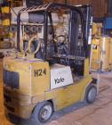 Used- Yale Lift Truck, Model GLC040ADJUAE083, 4000 lb capacity. Triple mast with 5 degree backtilt, solid tire. (2) 42