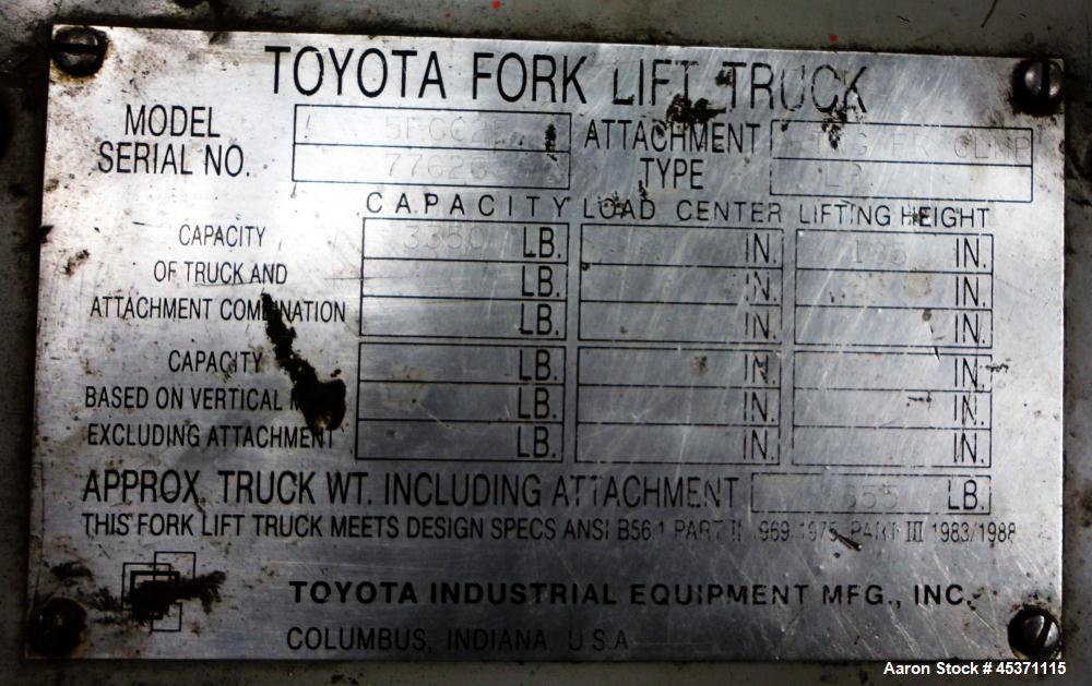 Used- Toyota Fork Lift Truck, Model 5FCC25