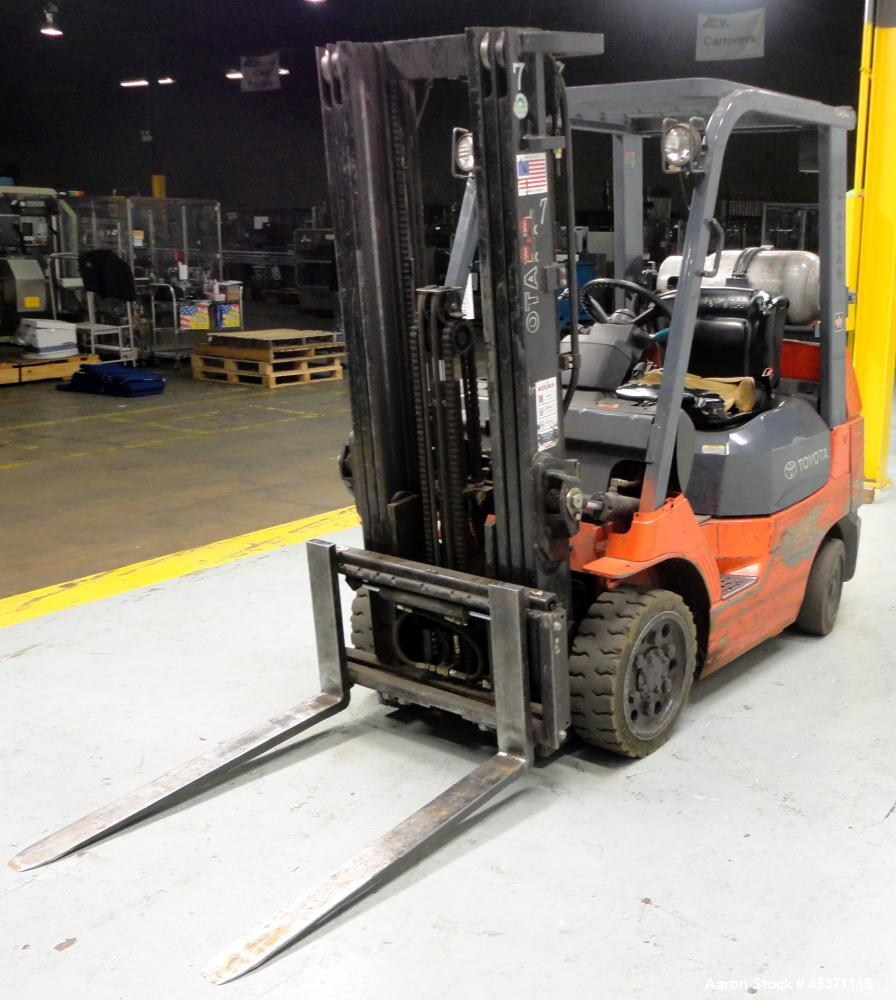 Used- Toyota Fork Lift Truck, Model 7FGCV25, 4,900 Pound Capacity
