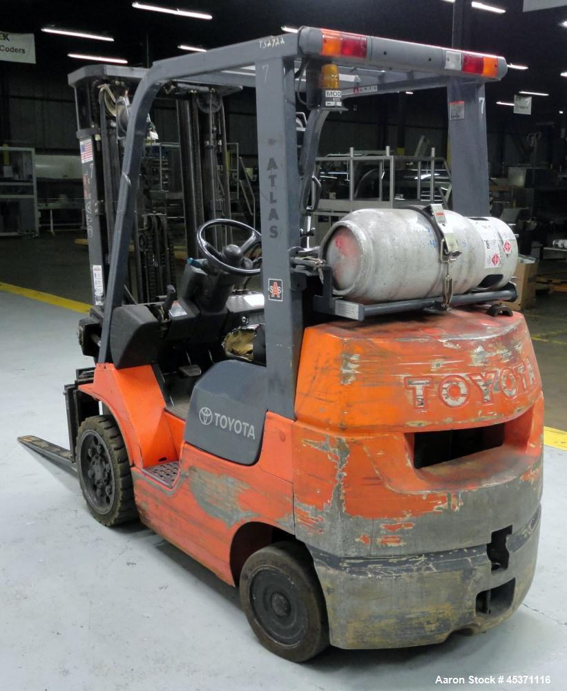 Used- Toyota Fork Lift Truck, Model 7FGCV25, 4,900 Pound Capacity