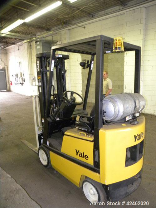 "Used- Yale LP Forklift, 3000 Pound Capacity, Model GLC030AFNUAE082. Triple mast, lift height 189"", solid tire. Serial# B809N..."