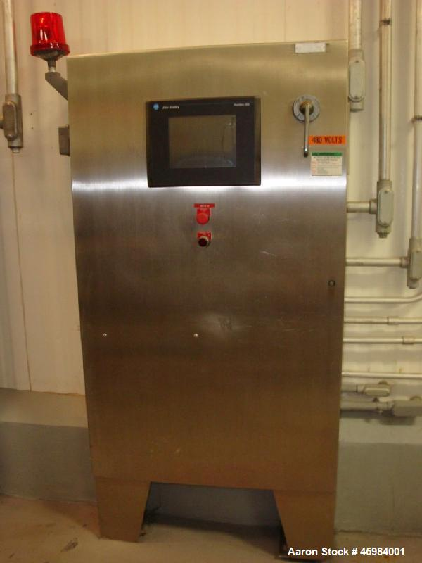 "Used- CBI Spiral Freezer. 15 tiers, Tier spacing 6"". Product clearance 3.25"". Belt length 1100 active feet. Belt width 32"", ..."