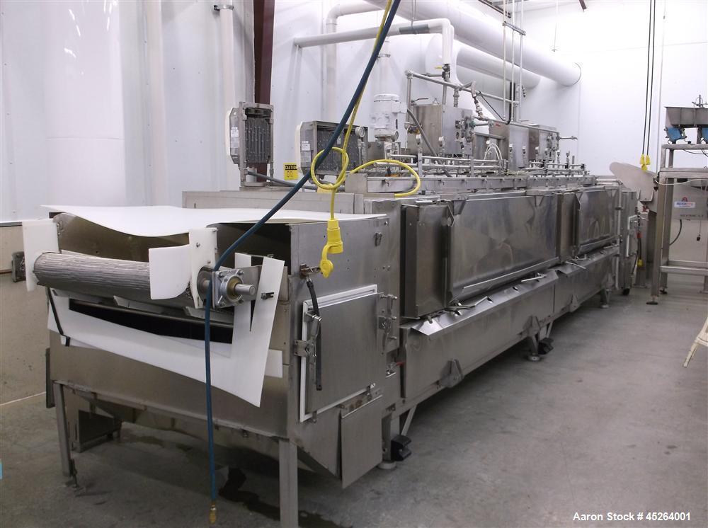 "Used-Liquid Carbonic CO2 Flighted Belt Freezer Tunnel, Model JE-U3A.  12 Spray headers, 2 sections long, 36"" wide belt, 5 fl..."