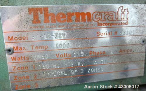 Used- Thermcraft Split Tube Furnace, Model 34-12-3ZV. Maximum temperature 1832 degrees F. (1000 C.). 3 Zone chamber, approxi...