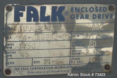 Used- Falk Enclosed Gear Drive, Model 1090FC3A. Input hp 20, ratio 38.12:1. Input rpm 1750, output 45 rpm. Service factor 2....