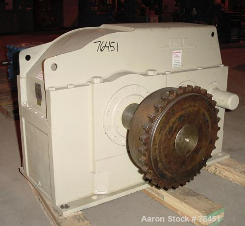 Used- Falk Enclosed Gear Drive, Model 2147Y3-S. HP rating 100/83.5, input rpm 705/590, output RPM 15.8/13.3, ratio 44.51:1, ...