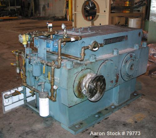 Used- Philadelphia Gear Drive, Model 17HP-2. HP rating 1040, input RPM 1150, output RPM 55, ratio 20.84:1, service factor 1....