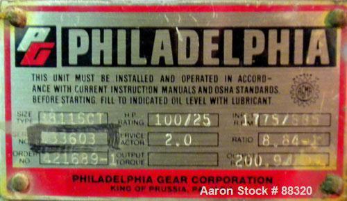 Unused- Philadelphia Gear Box, Type 3811SCT. Horsepower rating 100/25, service factor 2.0, input rpm 1775/885, output rpm 20...