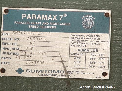 Used- Sumitomo Paramax 7 Parallel Shaft Reducer, Model SM7070P3-
