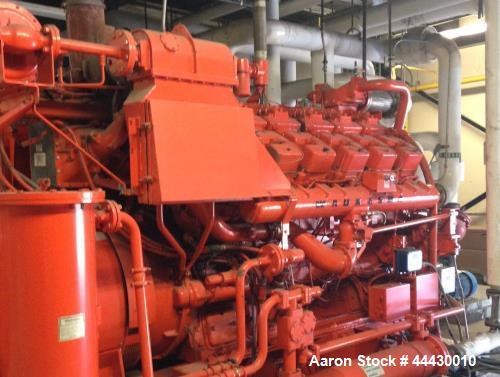 Used- Waukesha 1300 kW standby (1180 kW peak shave or 1050 kW continious) natural gas generator set, Model L7042GSID SN-C-93...