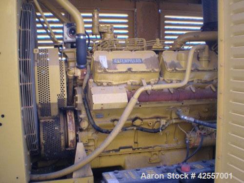 Used-CAT 500kW standby / 455kW prime diesel generator set. Caterpillar model 3412 engine rated 676 hp at 1800 rpm, serial #8...