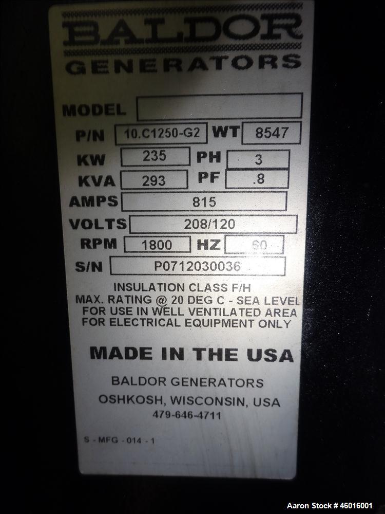 Used- Baldor / Cummins 250 kW Standby Natural Gas Generator Set