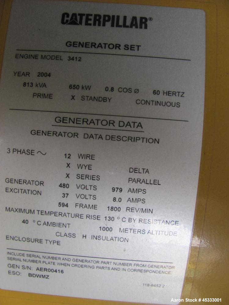 Used- Caterpillar 650 kW standby diesel generator set. CAT 3412 engine rated 968 HP at 1800 RPM, SN-1EZ06825.  3/60/277/480V...