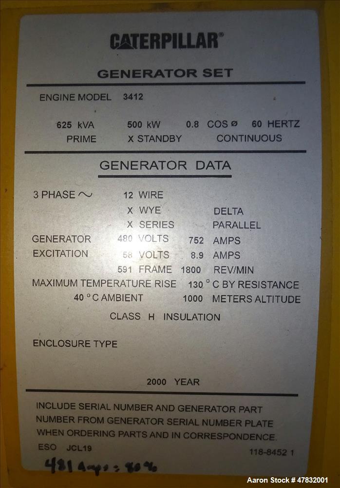 Used CAT 500 kW diesel generator set. Caterpillar 3412 engine