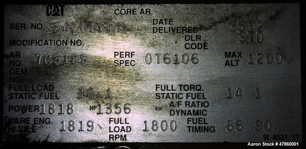 Used- CAT 1250 kW standby diesel generator. Caterpillar 3512 engine
