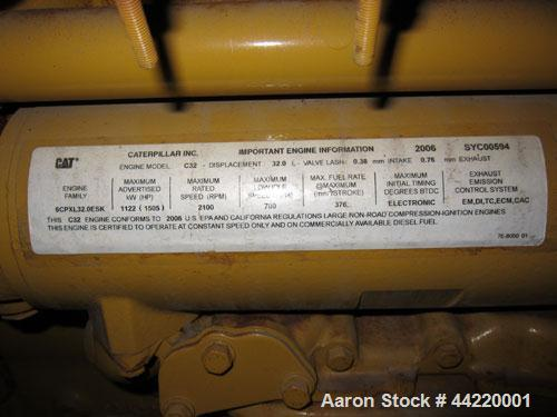 Used- CAT 1000kW standby diesel generator set, portable / trailer mounted, SN-SXC00745. Caterpillar C32 engine rated 1502 HP...