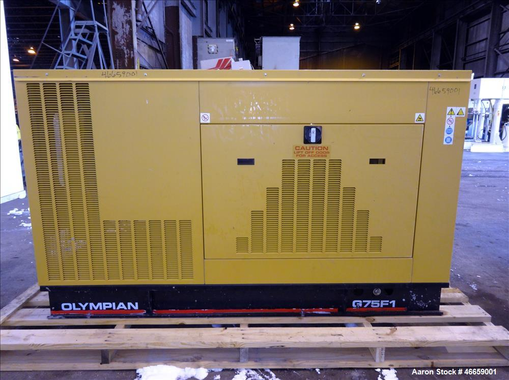 Used- Caterpillar / Olympian 70 kW  natural gas generator, model G75F1
