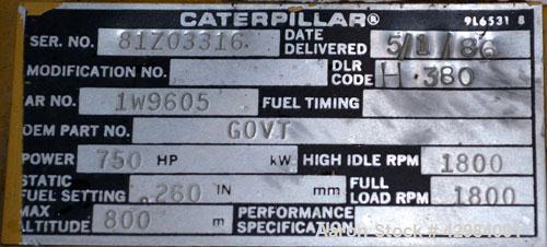 Used- Caterpillar 520kW Diesel Generator Set. CAT model 3412 engine SN-81Z03316. Gen end model SR4, ID#GEN122310CLP1, Serial...