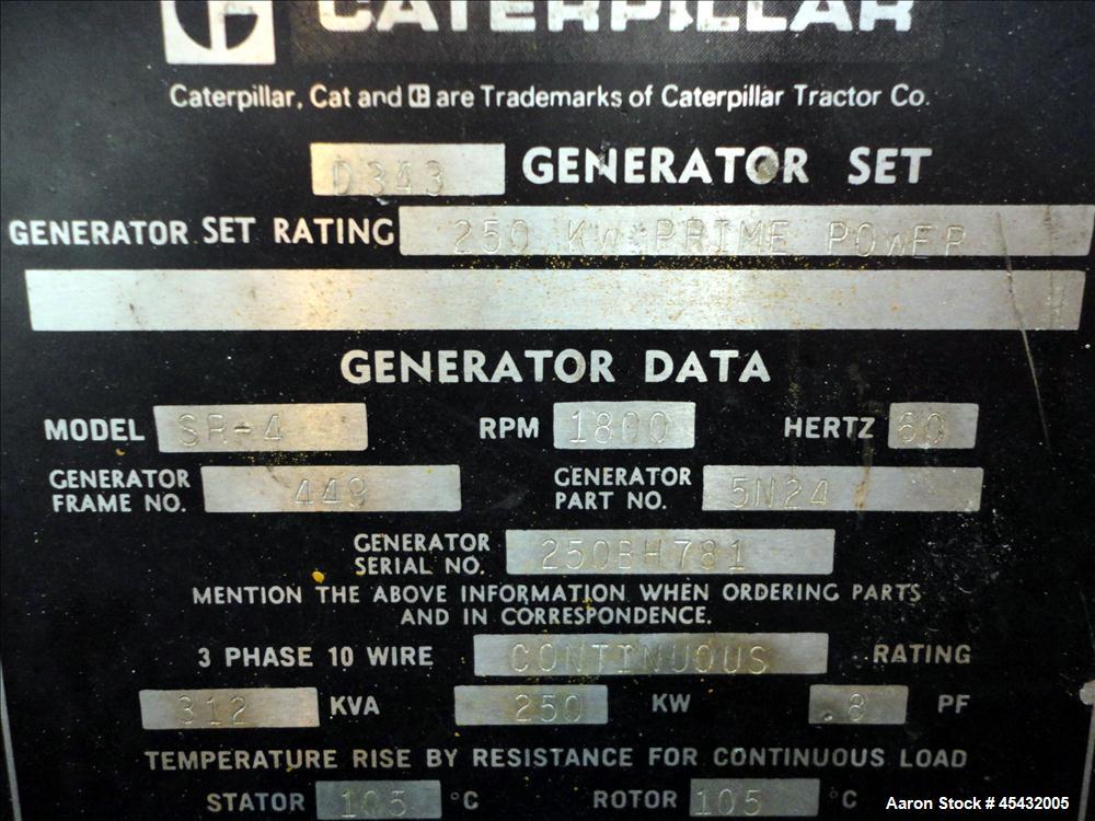 Used- Caterpillar 250 kW Prime Rated Diesel Generator Set, CAT Model D343