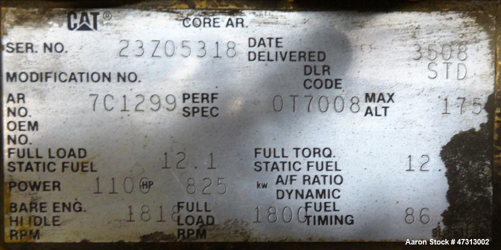 Used- Caterpillar 750 kW Diesel Generator Set. CAT 3508 Engine
