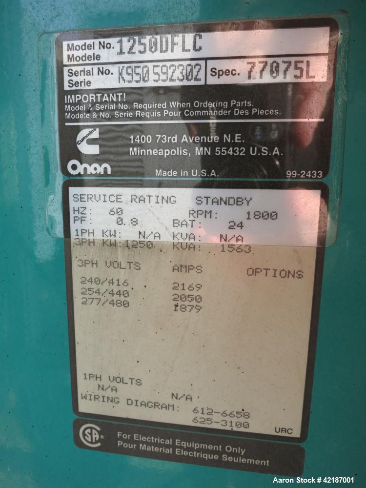 Used- Cummins 1250 kW standby diesel generator set, Cummins Model KTA50-G3