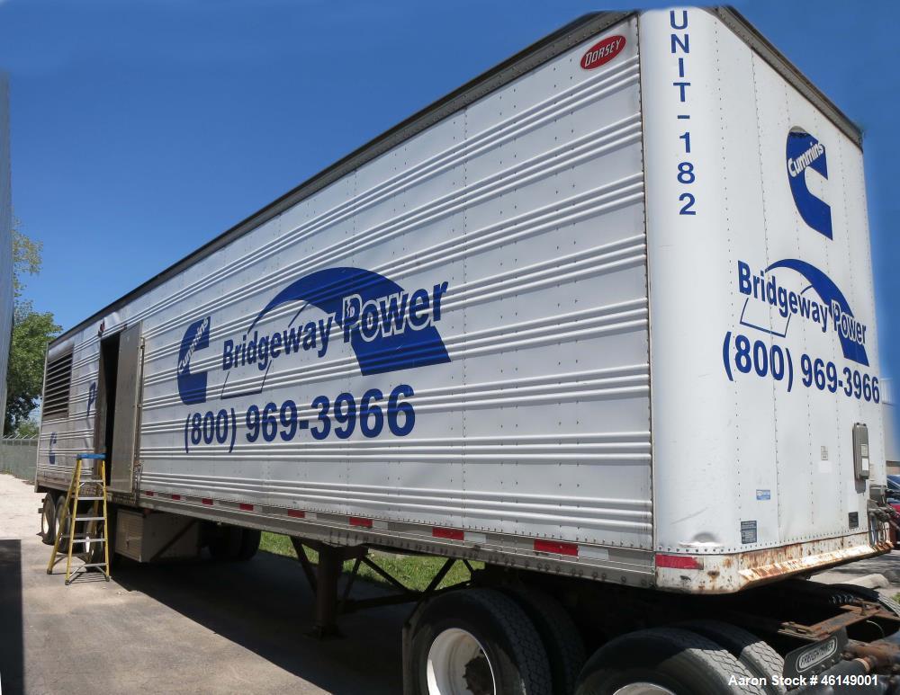 Used- Cummins 1250 kW standby (1100 kW prime) portable / trailer mounted diesel generator set, model 1250DFLC-947708, SN- F9...