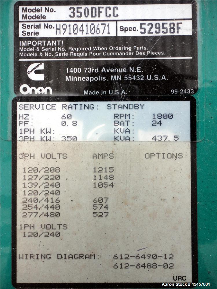 Used- Cummins 350 kW diesel generator set, model 350DFCC, SN-H910410671. Cummins NTA855 engine rated 535 HP at 1800 RPM. 3/6...
