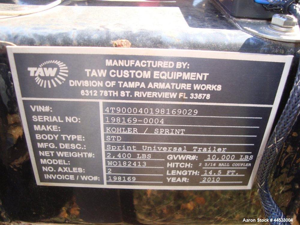 Used- Cummins 35 kW standby (32 kW prime) portable / trailer mounted diesel generator set, model 35DGBB, SN-K040710175.  Cum...
