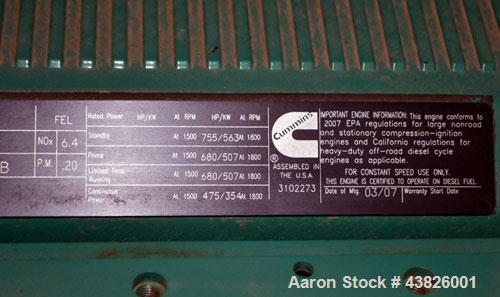 Used- Cummins 500 kW Standby (455kW prime) Diesel Generator Set, Model DFEK-5787986, SN- D070043071. Cummins QSX-15-G9 rated...