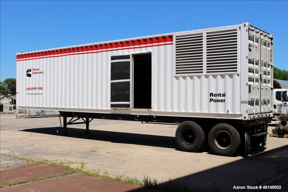 Used- Cummins 600 kW standby (545 kW prime) portable /trailer mounted diesel generator set, model 600DFGB-60495A, SN-C930502...