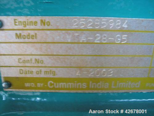 Used-Cummins 600kW standby / 545kW prime diesel generator set. Cummins model DFGB SN-G030525963. Cummins model VTA-28-G5 tur...