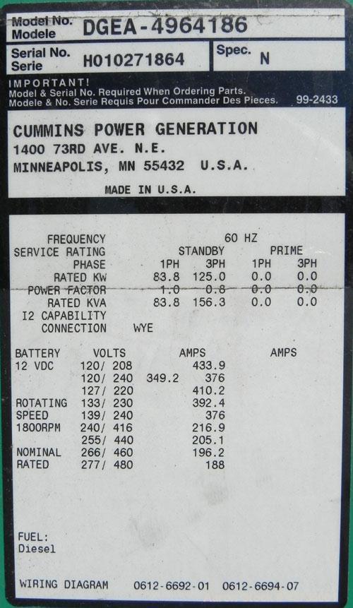 Used- Cummins / Onan 125 kW Diesel Generator Set, model DGEA-4964186, serial #H010271864. Cummins 6CT8.3-G-2 engine rated 20...