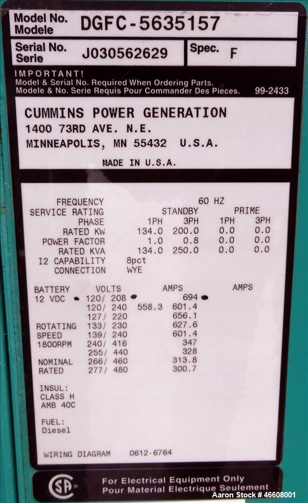 Used-Cummins 200 kW diesel generator  model DGFC. Cummins 6CTAA8.3-G2 engine