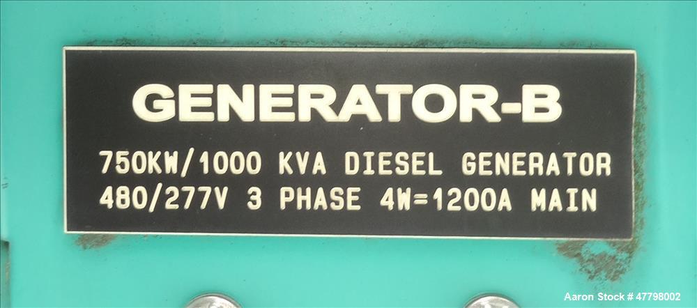 Used- Cummins 750 kW EPA Tier 2 750kW Diesel Generator. Cummins QST30-G5.
