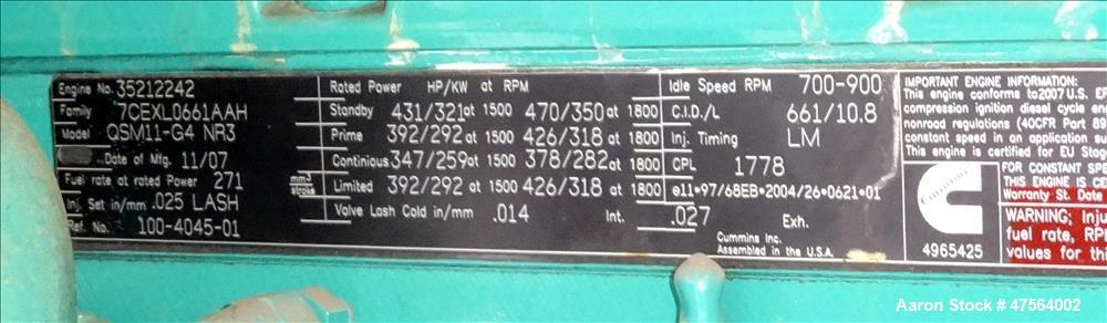 Used- Cummins 275 kW diesel generator. Cummins QSM11-G4 NR3 engine EPA Tier 3