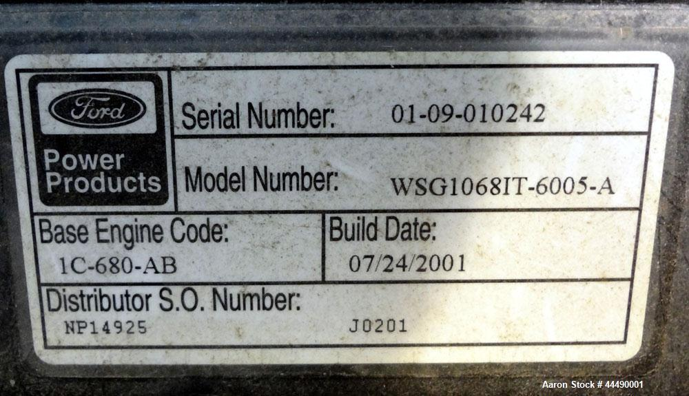 Used- Cummins 100 kW Standby Natural Gas Generator Set, Model GGHH-5003184, Serial #J010295640.  Ford WSG-1068 engine rated ...