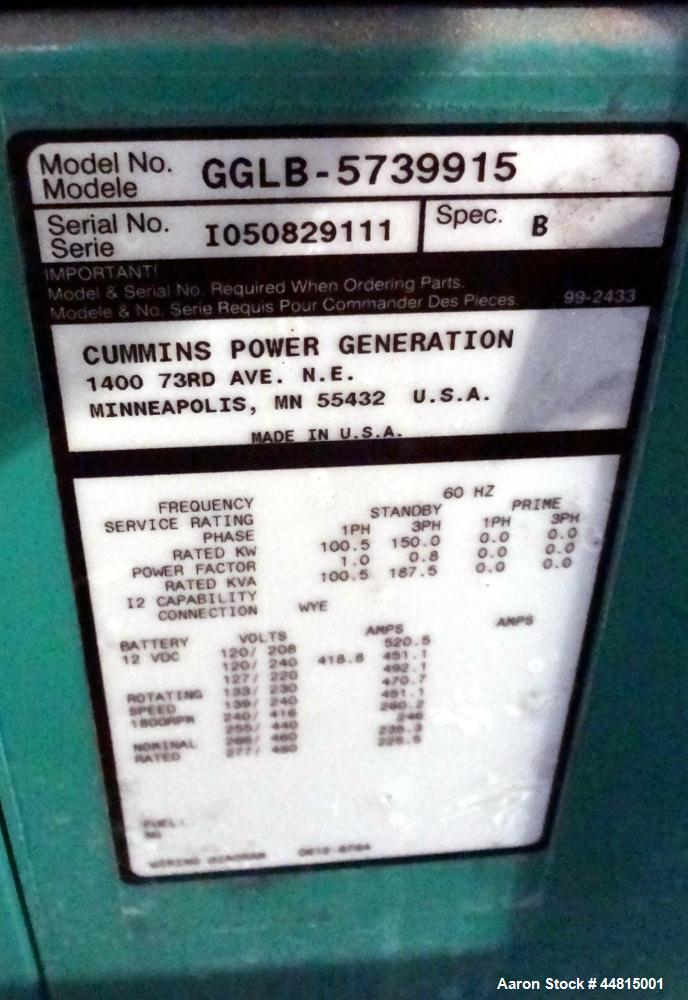 Used- Cummins 150 kW standby natural gas generator set, model GGLB-5739915, SN-I050829111. GM8.1L-HO engine rated 225 HP @ 1...